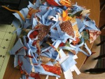 My scraps leftover from paper piecing the Flying Geese border.